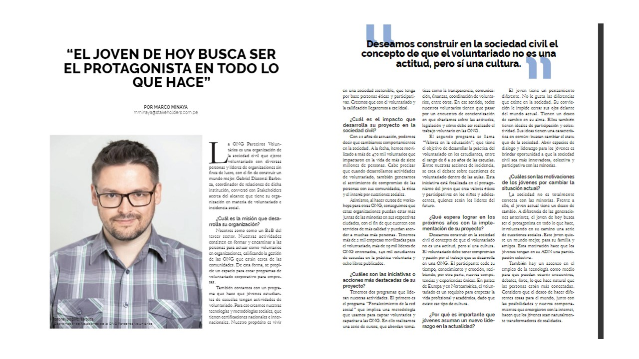 Revista Stakholders, do Peru, publica entrevista com o duxer Gabriel Barboza